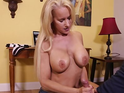Naughty stepmom takes care of son's orgasms and strokes his cock