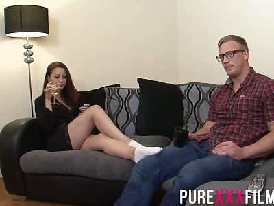 Having seduced nerdy lady's man Romanian nympho Lara Jade Deene enjoys riding bushwa