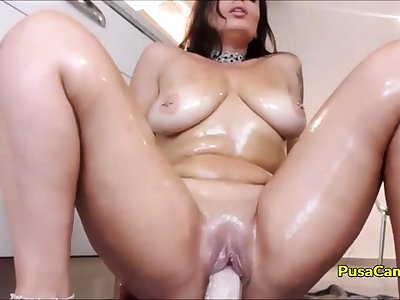 OH MADE MY STEP MOM RIDE DILDO Close by KITCHEN on CAM