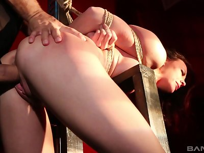 Tied up and tortured MILF Chanel Preston boobs slapping and fingering