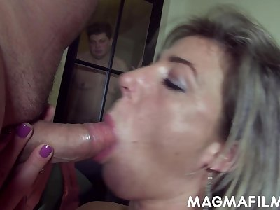Regular cuckolding session of a feminised alms-man by his sex starved wifey