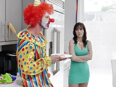 MILF gets effective with the clown from say no to son's birthday