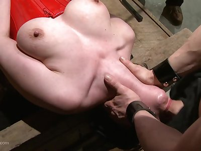 Busty woman gagged and roughly fucked in dirty maledom