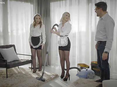 Morning FFM threesome with beautiful maids Lina Mercury and Olivia Sin