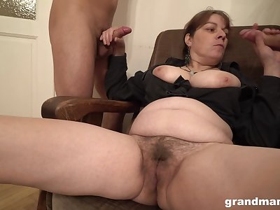 Chunky amateur slut licks ass of two men and gets imperceivable with cum