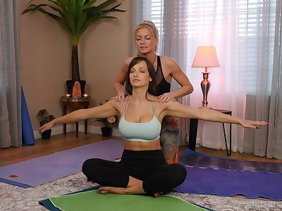 yoga lesson drives these chicks to a crazy oral operate