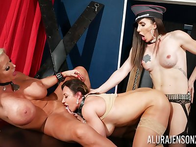Inside whores get intimate in brutal lesbian threesome