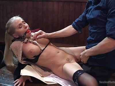 Alluring blonde tries their way first ever gagged hardcore in an unguarded moment
