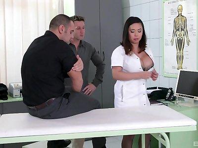 Nurse with generous boobs, insane Asian porn on two chubby dicks