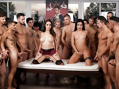 Martina & Malena's 2nd 69-Cock Orgy!