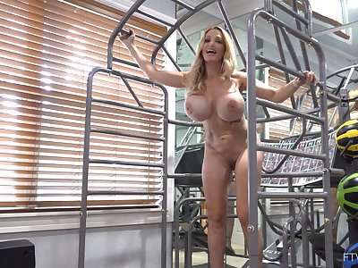 Busty mature roughly fit forms and first-class muscles, insane solo toy porn