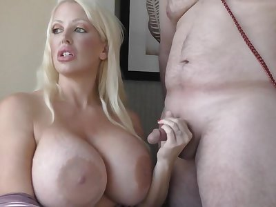 Alura Jenson disappointed with small dick but gives it a try - fetish handjob